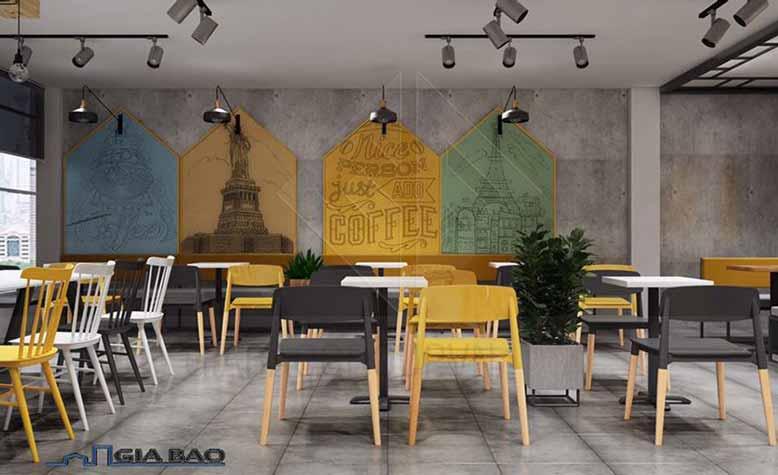 Thiết kế quán trà sữa đẹp với bàn ghế hiện đại
