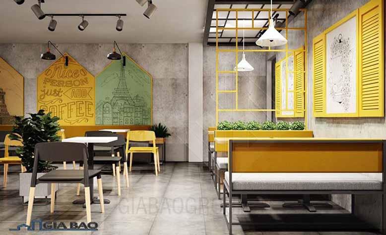 Thiết kế quán trà sữa đẹp với sắc màu nổi bật, tươi tắn