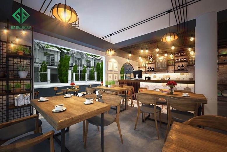 Sự đơn giản tinh tế trong hiết kế nội thất quán cà phê đẹp Nam Phong được thể hiện qua cách bài trí