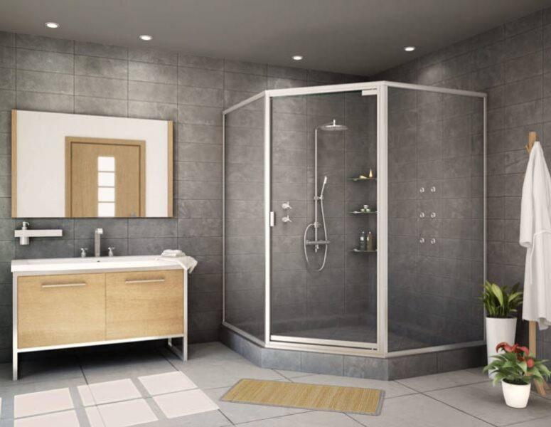 Phòng tắm kính cửa lùa góc 45 độ