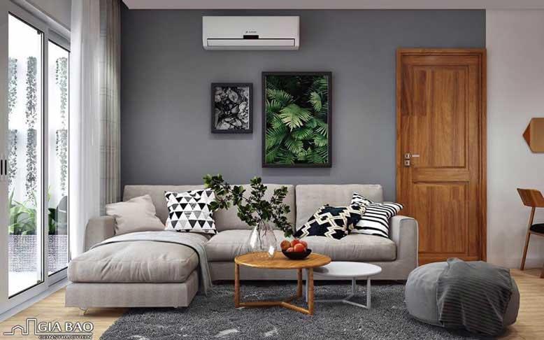Không gian phòng khách ngập tràn ánh sáng với tông màu xám ghi thịnh hành cho thiết kế nội thất căn hộ chung cư