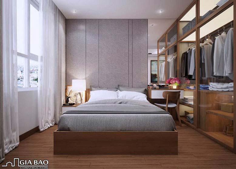 Thiết kế nội thất căn hộ Everrich cho phòng ngủ với chất liệu gỗ nâu ấm áp