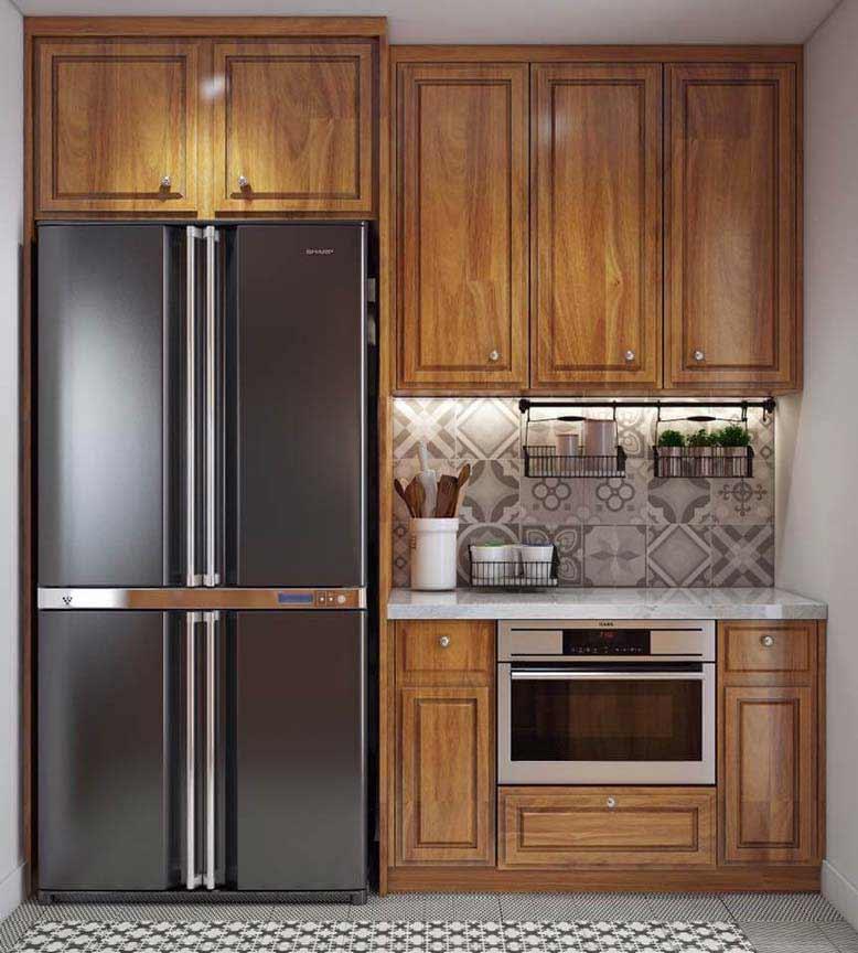 Phòng bếp đặc trưng với tông màu gỗ nâu