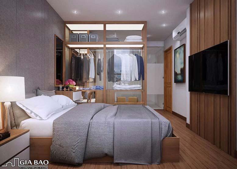 Phòng ngủ toát lên vẻ mộc của gỗ với lối bài trí đơn giản như phong cách Nhật Bản