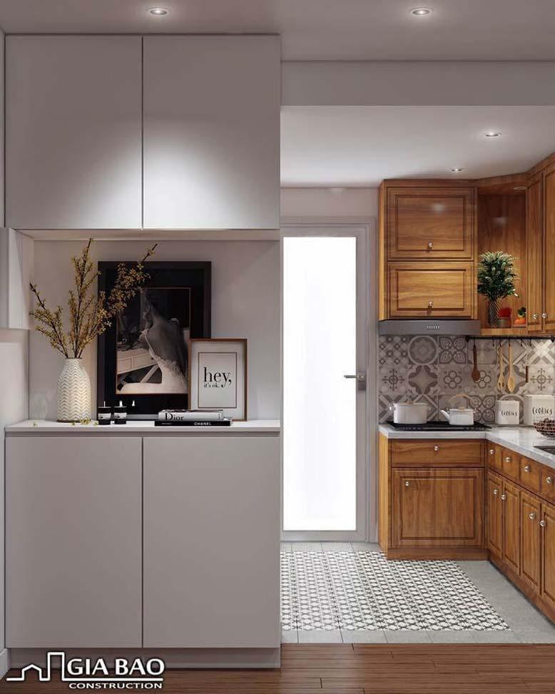 Cách bày trí, sử dụng nội thất gỗ giúp căn bếp tuy nhỏ nhưng vẫn toát lên vẻ sang trọng, tiện nghi