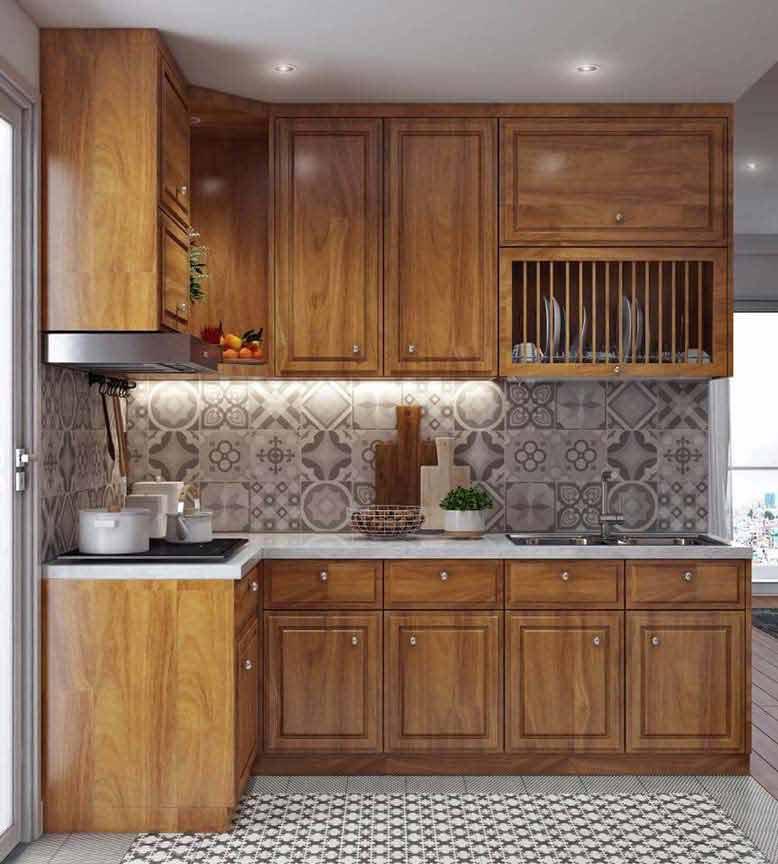 Màu nâu đặc trưng của gỗ làm cho thiết kế nội thất căn hộ Everrich thêm phần ấm cúng