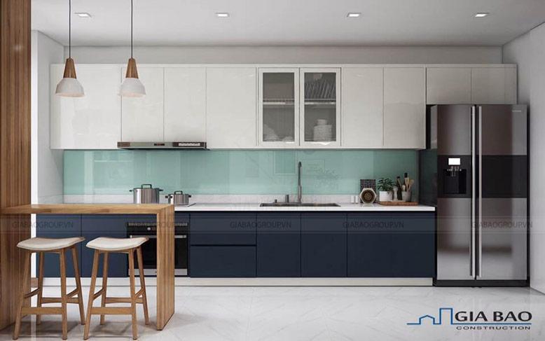 Thiết kế nội thất căn hộ Vinhome Tân Cảng Park 7 cho phòng bếp không gian xanh biển hài hòa