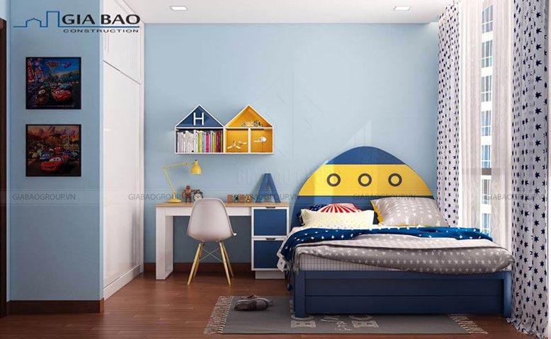 Thiết kế nội thất căn hộ Vinhome Tân Cảng Park 7 cho phòng ngủ trẻ em tinh nghịch
