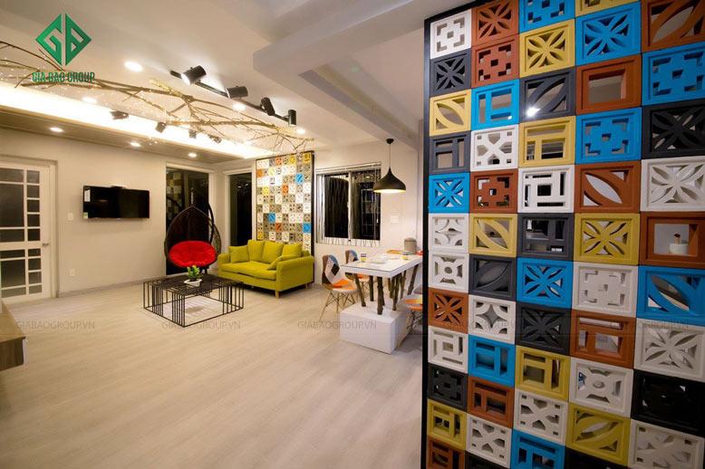 Thiết kế nội thất chung cư hiện đại với màu sắc ấn tượng