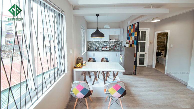 thiết kế nội thất chung cư hiện đại với phòng bếp trẻ trung