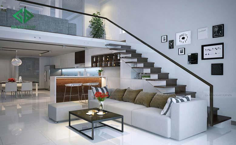 thiết kế nội thất nhà 1 trệt 1 lầu cho phòng khách với tông trắng xám vô cùng sang trọng