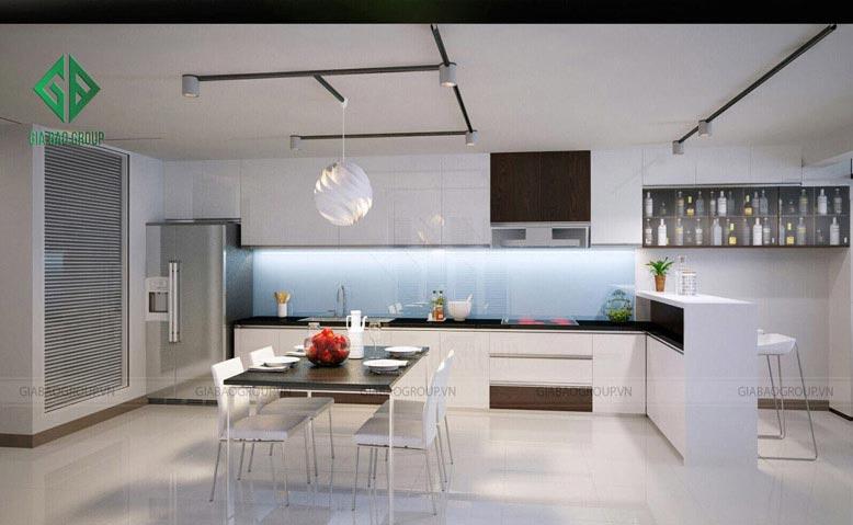 Thiết kế nội thất phòng bếp dạng chữ L mang đến không gian rộng cho nhà 1 trệt 1 lầu
