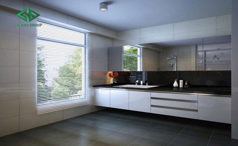 Thiết kế nội thất nhà 1 trệt 1 lầu với phòng tắm diện tích lớn vô cùng thoải mái