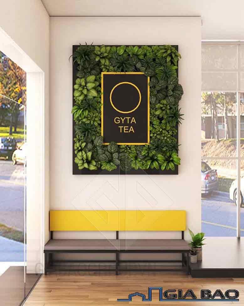 Bảng hiệu quán trong thiết kế quán trà sữa đẹp
