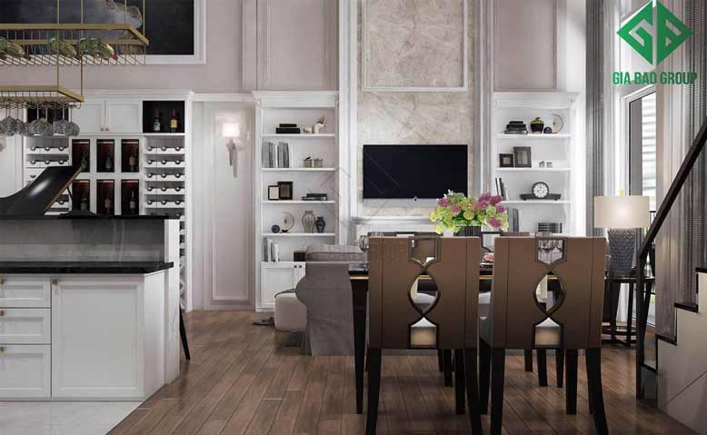 Bếp ăn + Phòng ăn + Phòng khách bố trí cùng khu vực