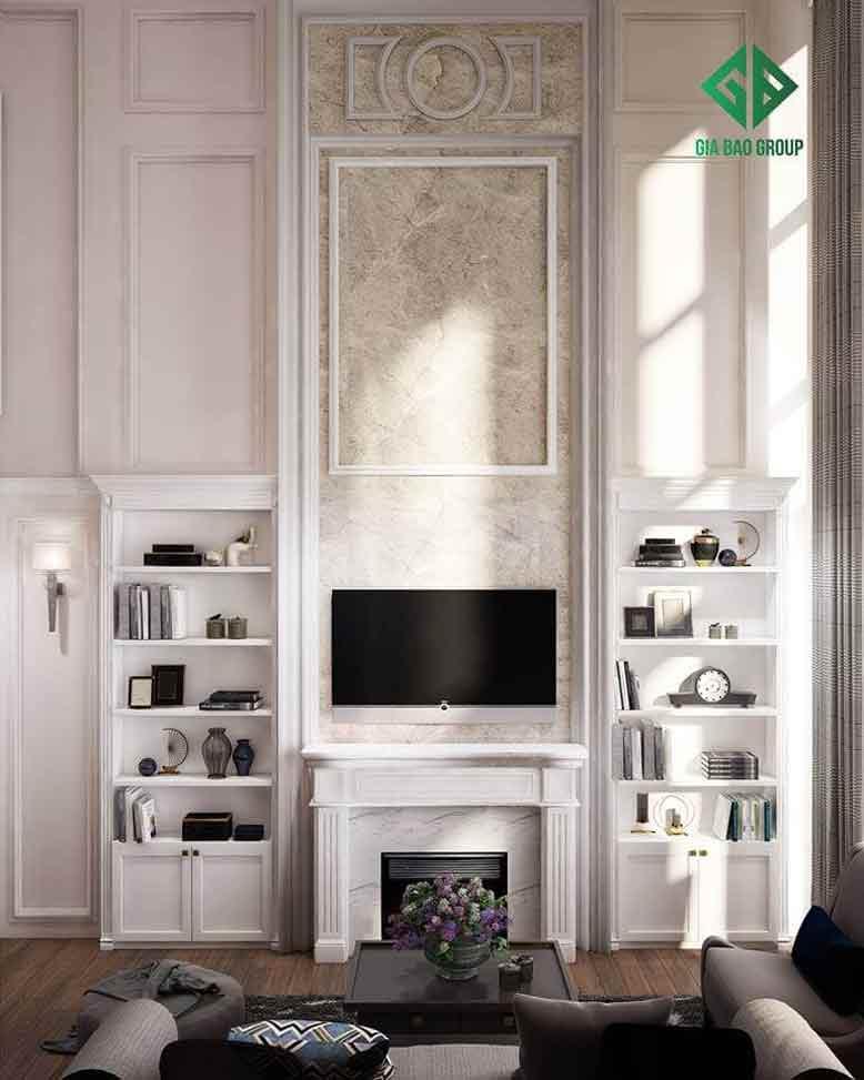 thiết kế nội thất căn hộ chung cư Duplex với phòng khách sang trọng mang đậm chất châu Âu