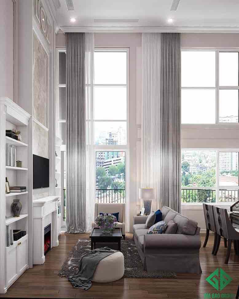Nội thất phòng khách được bao phủ bởi tông trắng hiện đại
