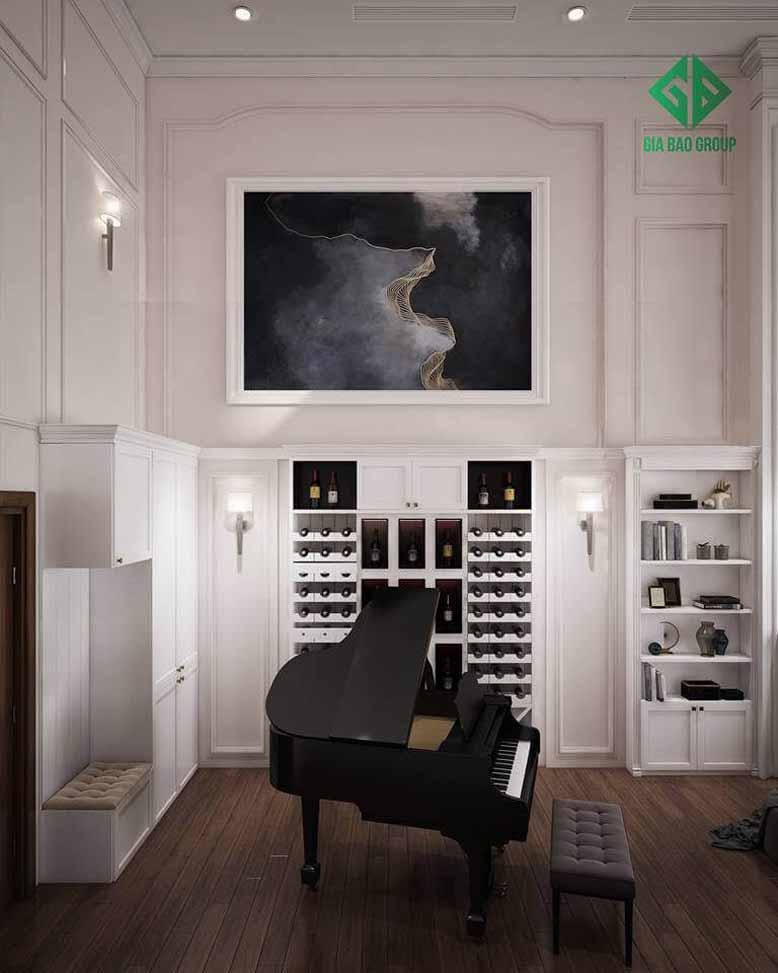 Nội thất phòng chơi đàn chủ đạo tông màu trắng bật lên nét đẹp cổ điển trong mẫu thiết kế nội thất căn hộ chung cư Duplex
