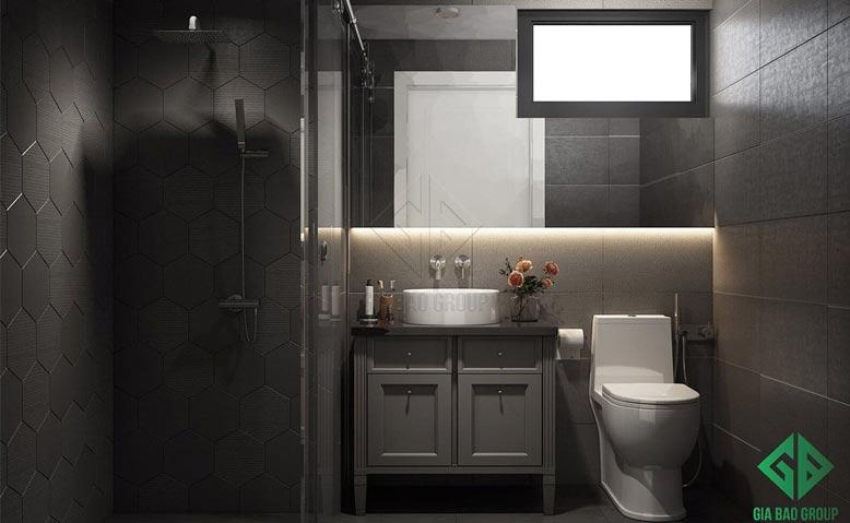 thiết kế nội thất căn hộ chung cư Duplex với phòng tắm tối giản nhưng đầy tiện nghi, hiện đại
