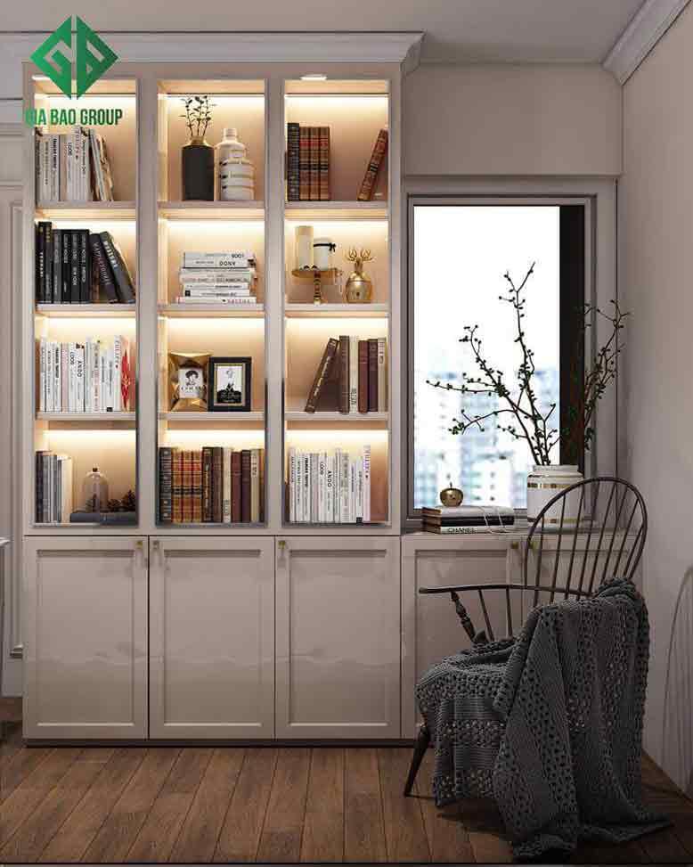Phòng đọc sách bố trí đơn gián trong mẫu thiết kế nội thất căn hộ chung cư Duplex