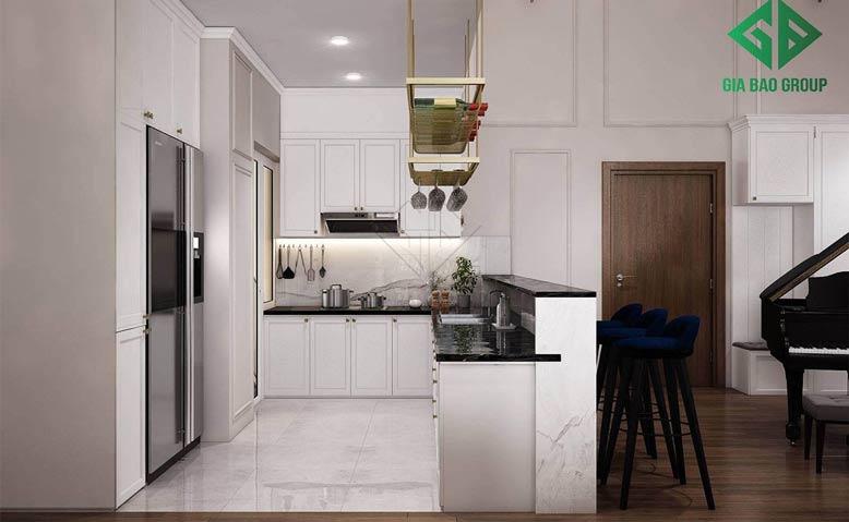 Thiết kế nội thất căn hộ chung cư Duplex với phòng bếp tích hợp quầy bar mini