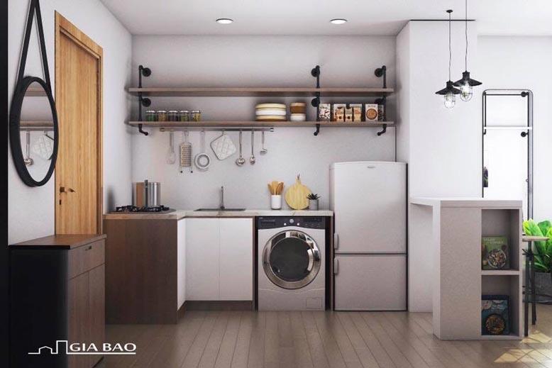 Khu bếp của căn hộ 1 phòng ngủ tphcm không quá cầu kỳ nhưng đầy đủ tiện nghi