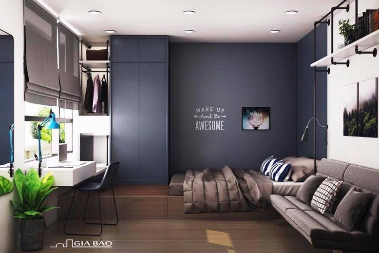 Vẻ đẹp trầm ấm của thiết kế căn hộ 1 phòng ngủ tphcm