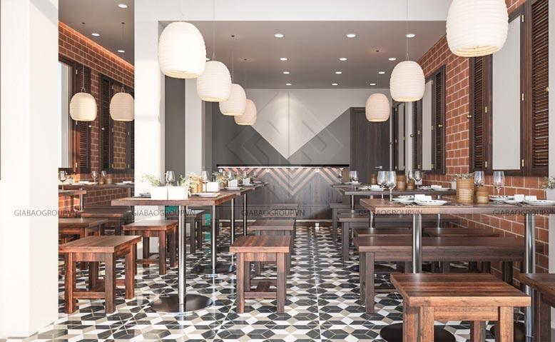 Nội thất trong thiết kế quán ăn phố mang phong cách cổ xưa