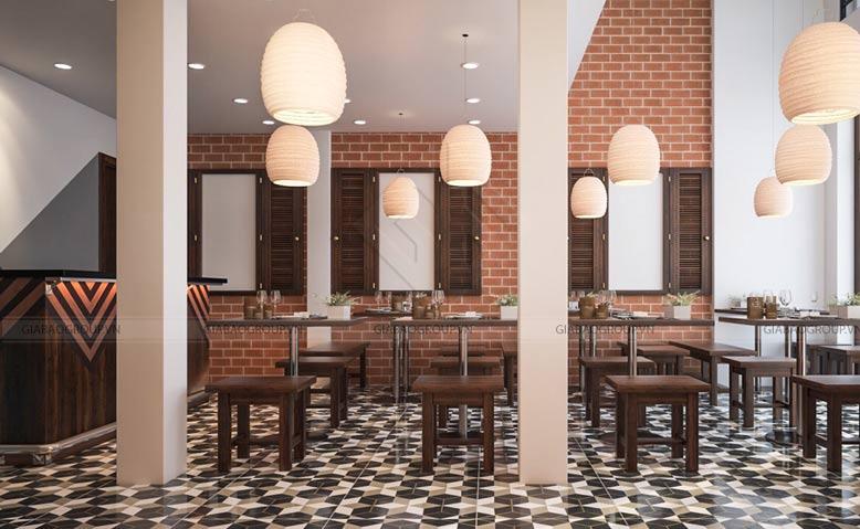Thiết kế quán ăn phố với đèn âm tường nhỏ, phá cách
