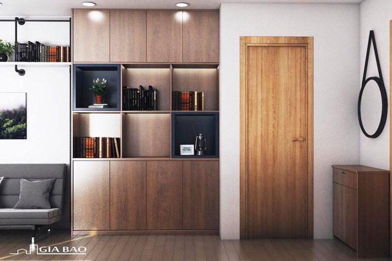 Thiết kế căn hộ 1 phòng ngủ với nội thất gỗ tăng thêm phần sang trọng