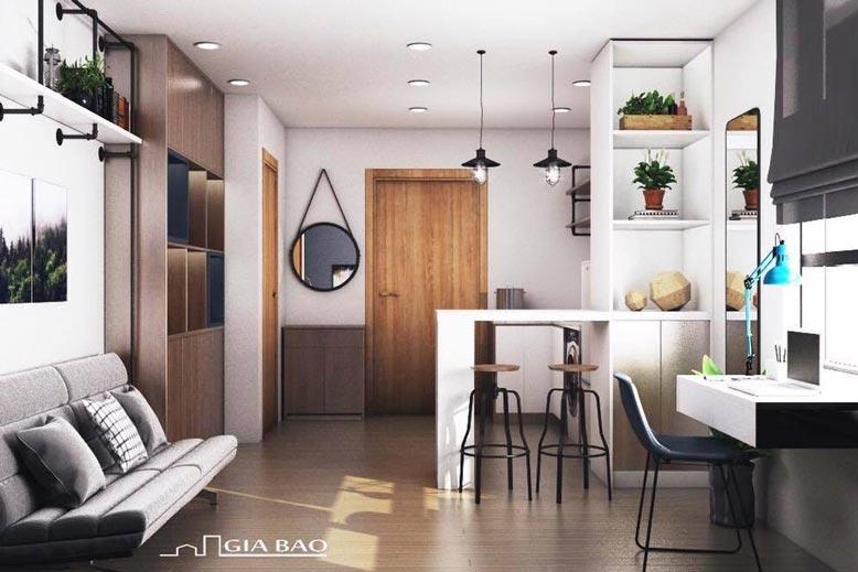 Nội thất được bài trí hợp lý, hài hòa trong thiết kế căn hộ 1 phòng ngủ