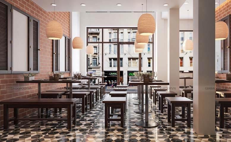 Bàn ghế gỗ mộc mạc của thiết kế quán ăn đẹp