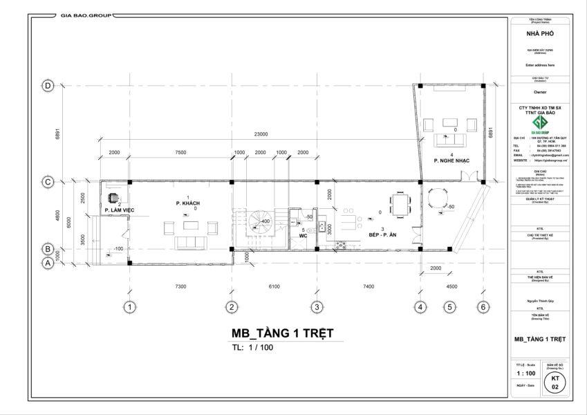Bản vẽ MB tầng 1 trệt căn nhà