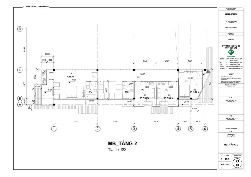 Bản vẽ MB tầng 2 căn nhà