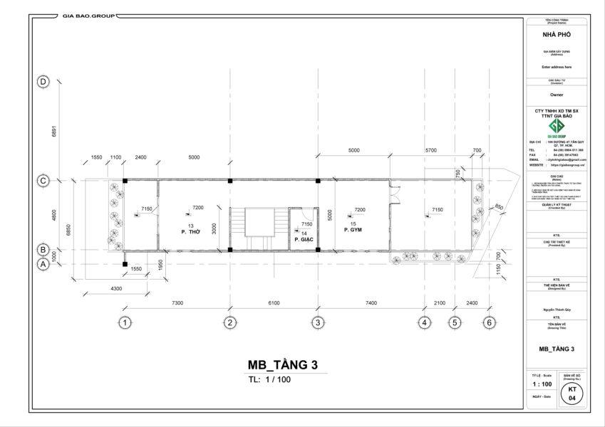 Bản vẽ MB tầng 3 căn nhà