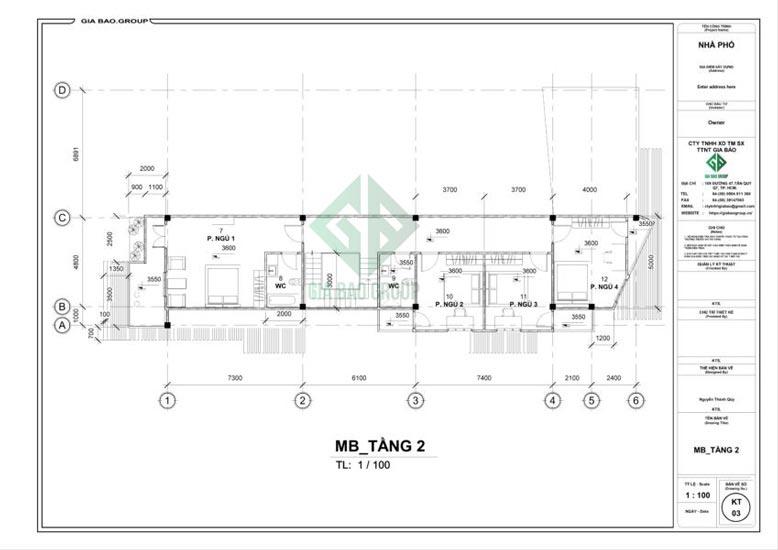 Tầng 2 mẫu thiết kế nhà phố 3 tầng đẹp