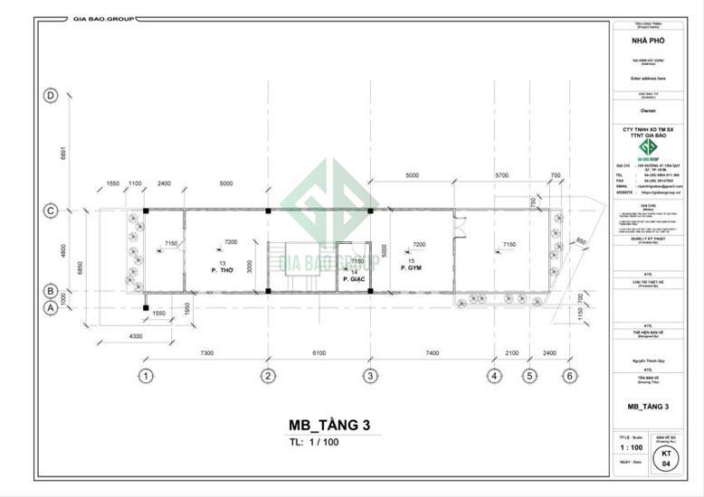 Tầng 3 mẫu thiết kế nhà phố 3 tầng đẹp