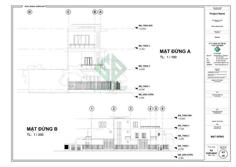 Mặt đứng của thiết kế mẫu nhà phố 3 tầng đẹp
