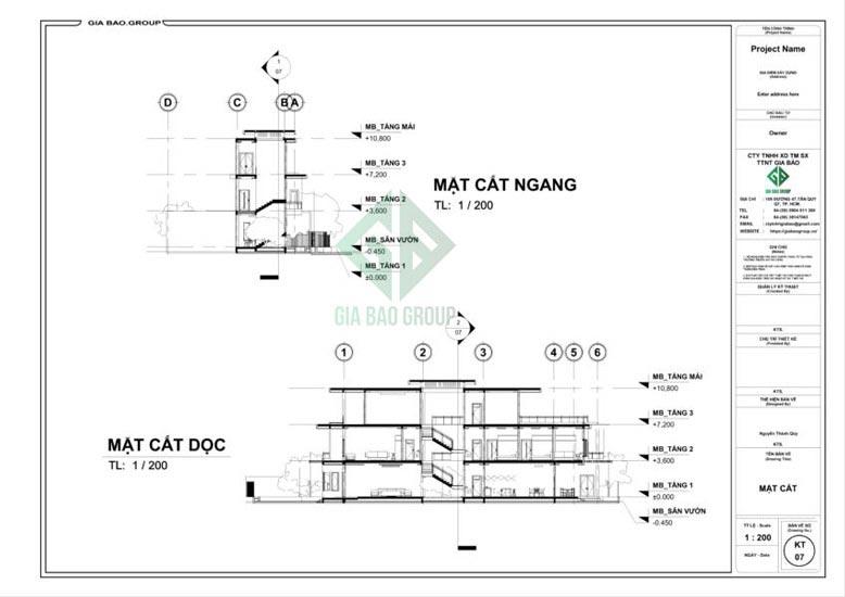 Bản vẽ mặt cắt mẫu thiết kế nhà phố 3 tầng đẹp