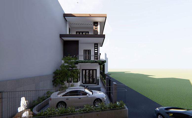 Bên hông thiết kế nhà phố 3 tầng 3 phòng ngủ