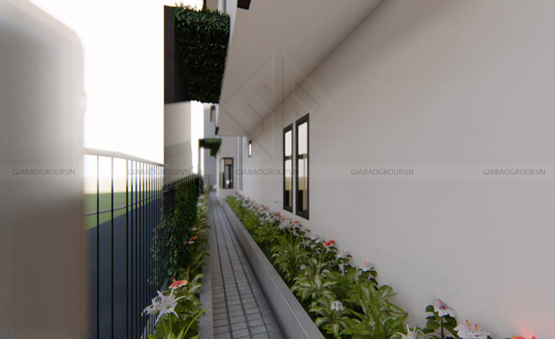 Lối đi nhỏ bên hông trong thiết kế nhà phố 3 tầng của anh Thuấn