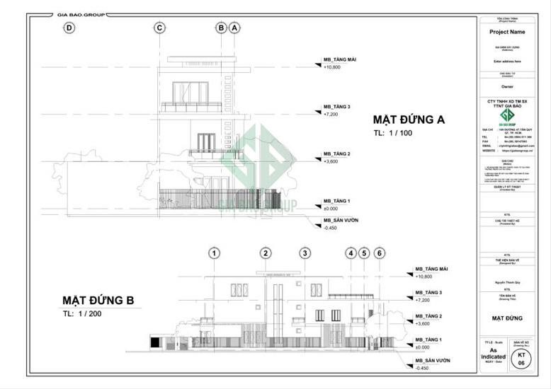 Mặt đứng phối cảnh thiết kế nhà phố 3 tầng