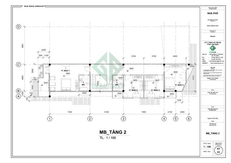 Mặt bằng tầng 2 thiết kế nhà phố 3 tầng