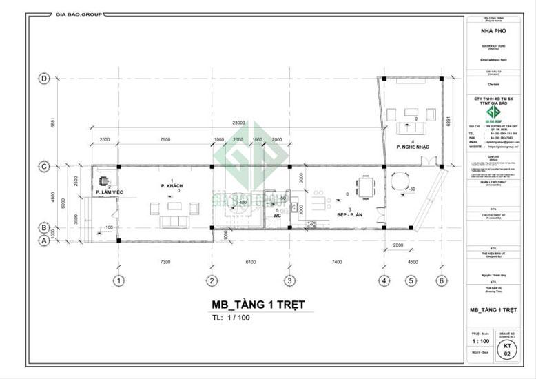 Mặt bằng tầng trệt thiết kế nhà phố 3 tầng