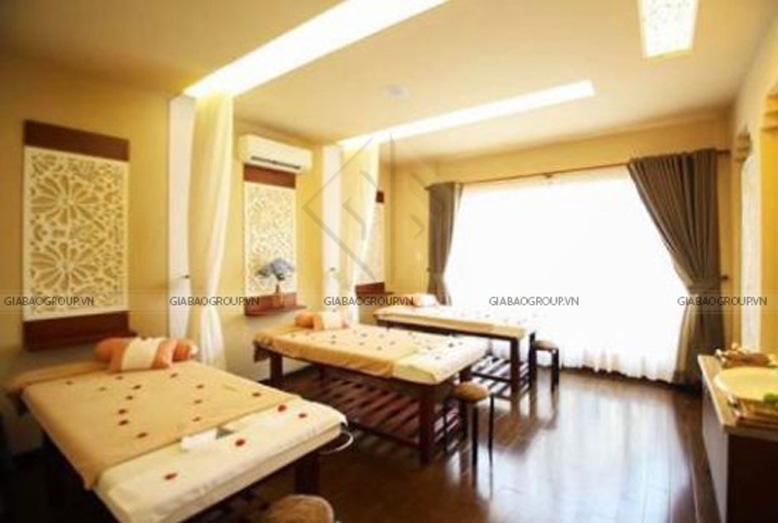 Phòng làm đẹp trong thiết kế nội thất spa với tông màu vàng thư giản
