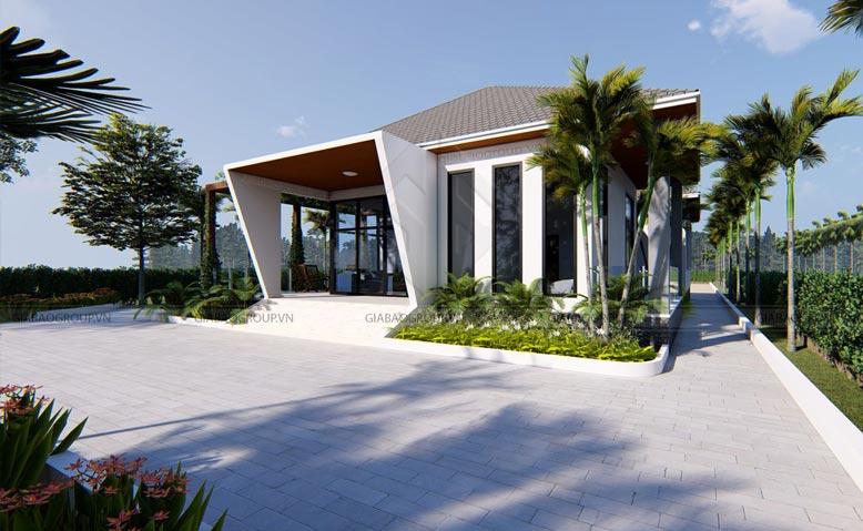 Mặt tiền biệt thự nhà vườn 1 tầng vừa thẩm mỹ lại đảm bảo công năng