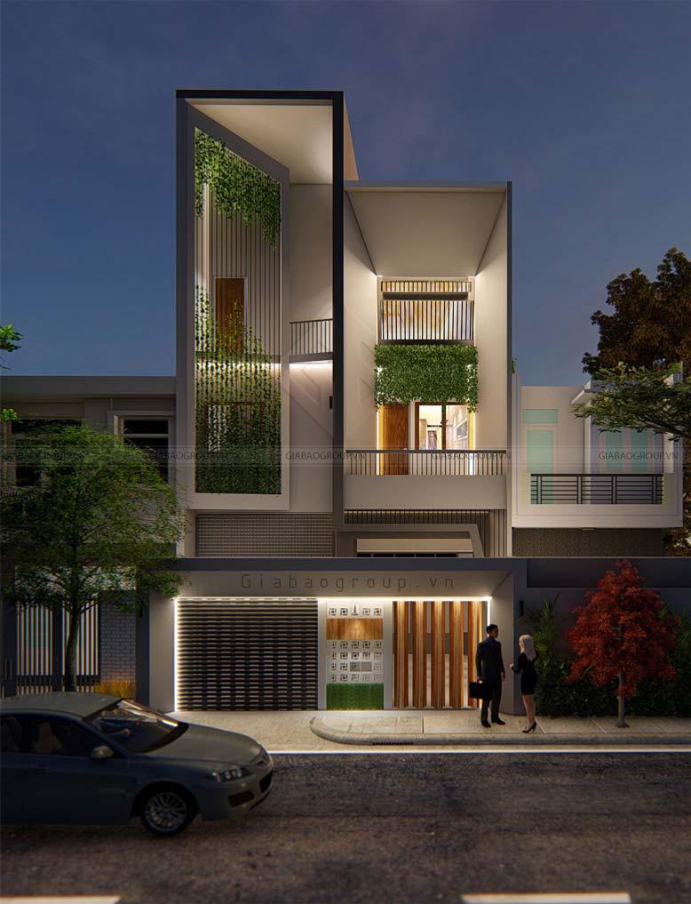Ảnh phối cảnh mẫu thiết kế nhà phố 3 tầng hiện đại