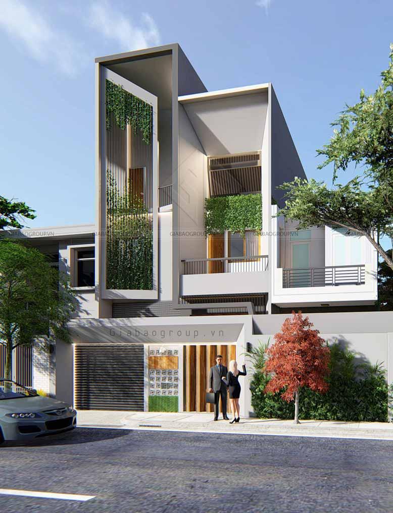 Mặt tiền mẫu thiết kế nhà phố 3 tầng hiện đại