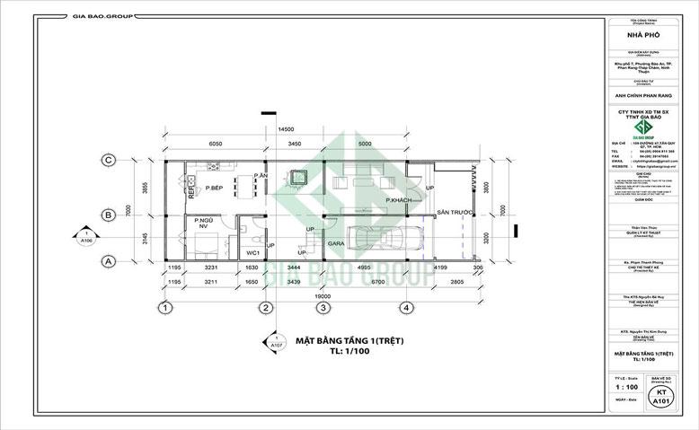 Mặt bằng tầng trệt của mẫu thiết kế nhà phố 3 tầng hiện đại