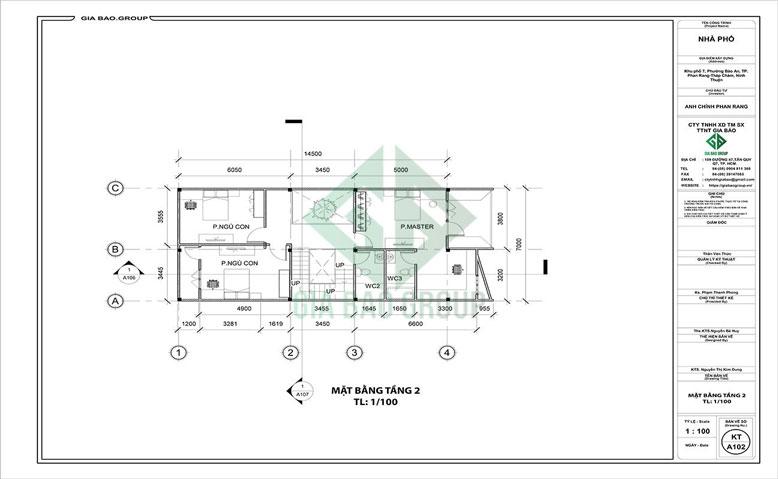 Mặt bằng tầng 2 của mẫu thiết kế nhà phố 3 tầng hiện đại